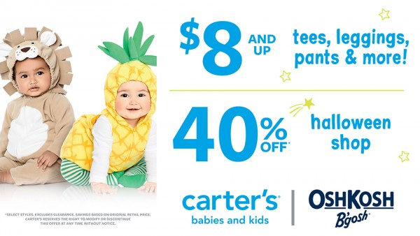 Carter's | OshKosh B'gosh: $8 & up tees, leggings, pants & more! / 40% off Halloween shop