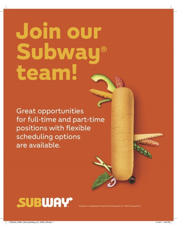 Subway: Now Hiring - Subway @ 10 Disera Drive
