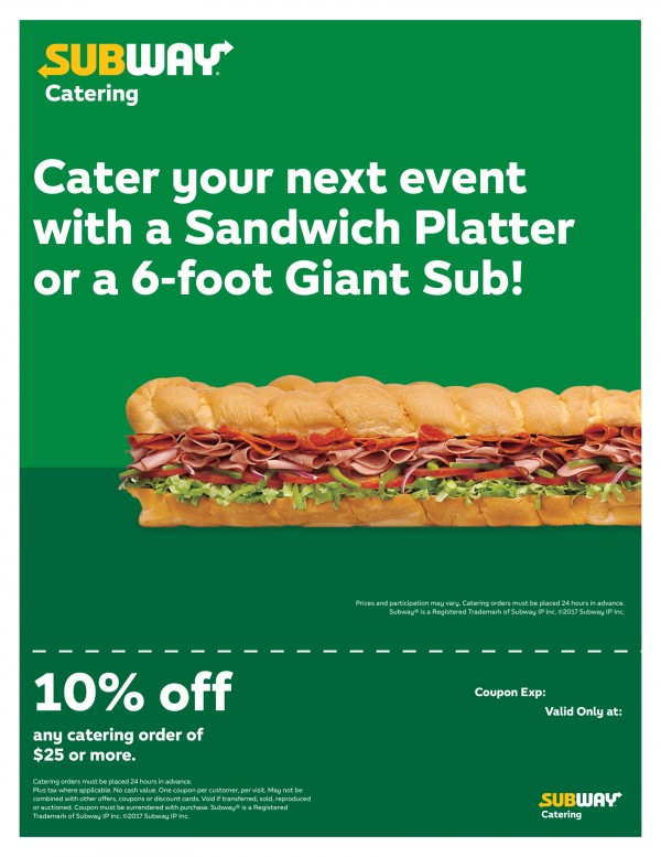 Subway: Subway Caters and Delivers