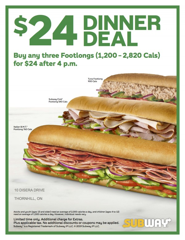 Subway: $24 DINNER DEAL